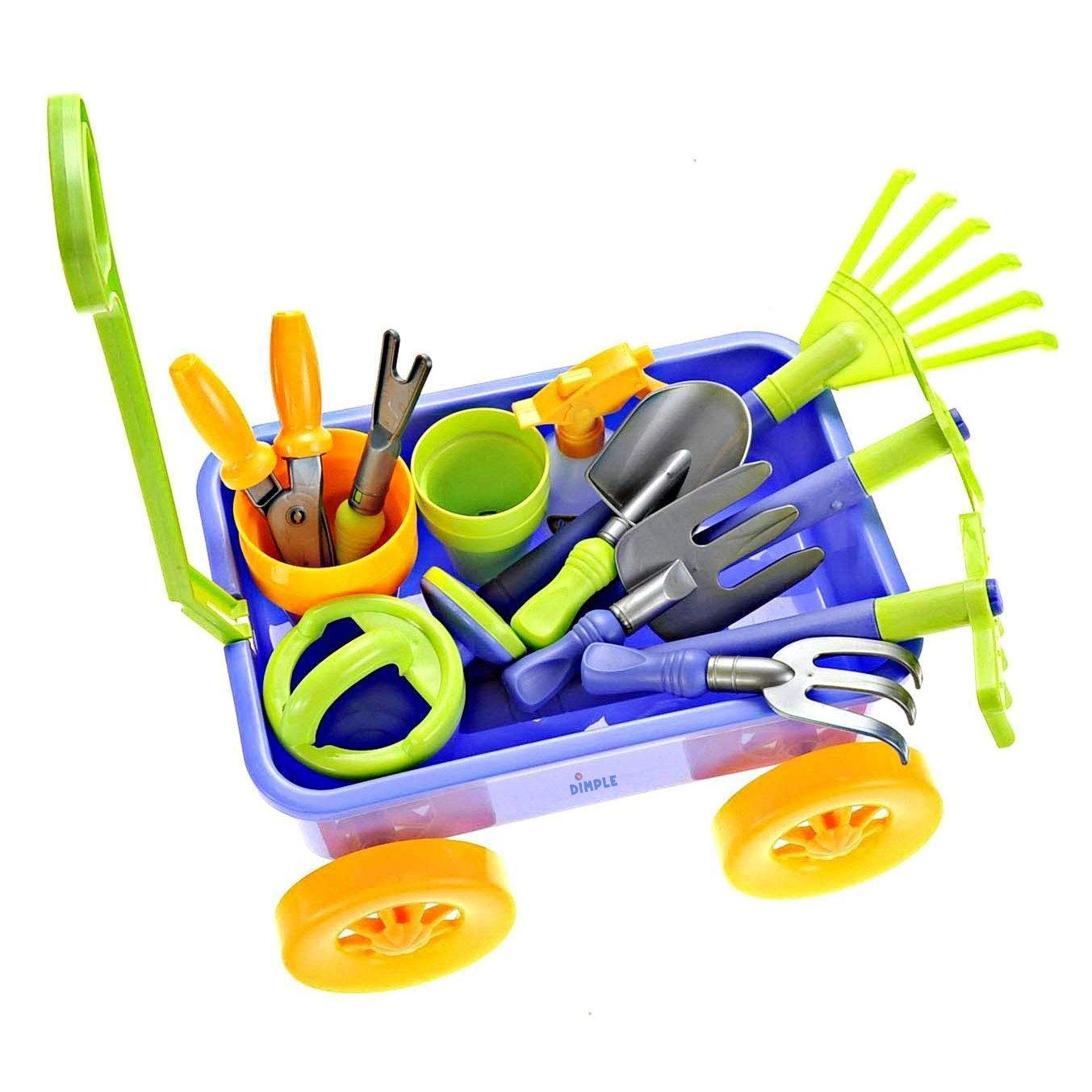 Dimple DCN12752 Garden Wagon and Tools Toy Set Premium 15Piece Gardening Tools and Wagon Toy Set Sturdy and Durable-Top Yd, Beach, Sand, Garden Toy-Great for Kids and Toddlers, Multicolor