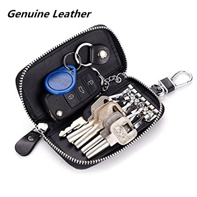Men Leather Zip Around 6 Hook Key Case Car Key Holder Wallet Thr Flash Store