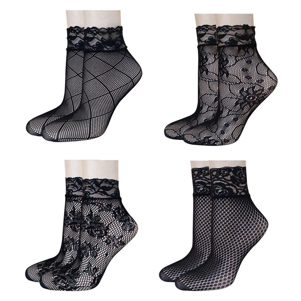 AIYUE 4 Pairs Womens Fishnet Ankle Socks Patterned Black Lace Stylish Stocking