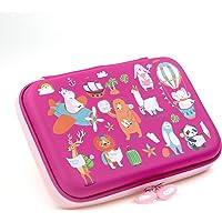 Rockpapa Let's Go Travel Pencil Case for Kids Girls, Hippo Rabbit Elephant Panda Lion Bear Sheep Pencil Box for School…
