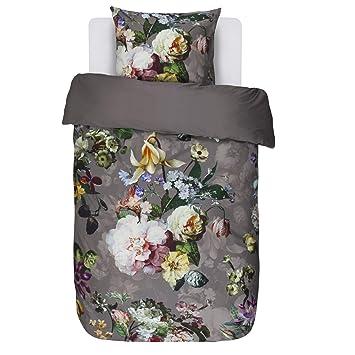 Essenza Bettwäsche Fleur Taupe Blumen Blüten Satin 155x220 Cm