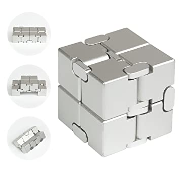 infinity cube. jzh metal aluminum infinity cube fidget toy, decompression toys rubik\u0027s cube. (silver