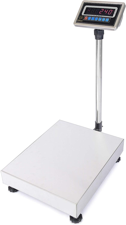 Cablematic - Balanza industrial de plataforma 40x50cm báscula, 150Kg de acero inoxidable