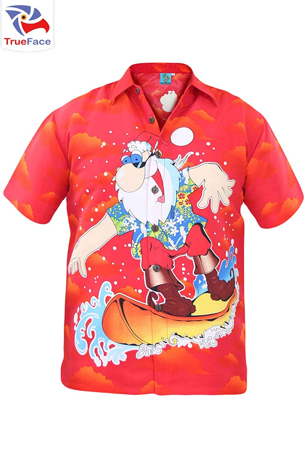 Medium XL Large 2XL,3XL Mens Hawaiian Christmas Shirts Boys Xmas Casual Button Down Short Sleeve Top Beach Holiday T Shirt for Men Available in Sizes Small