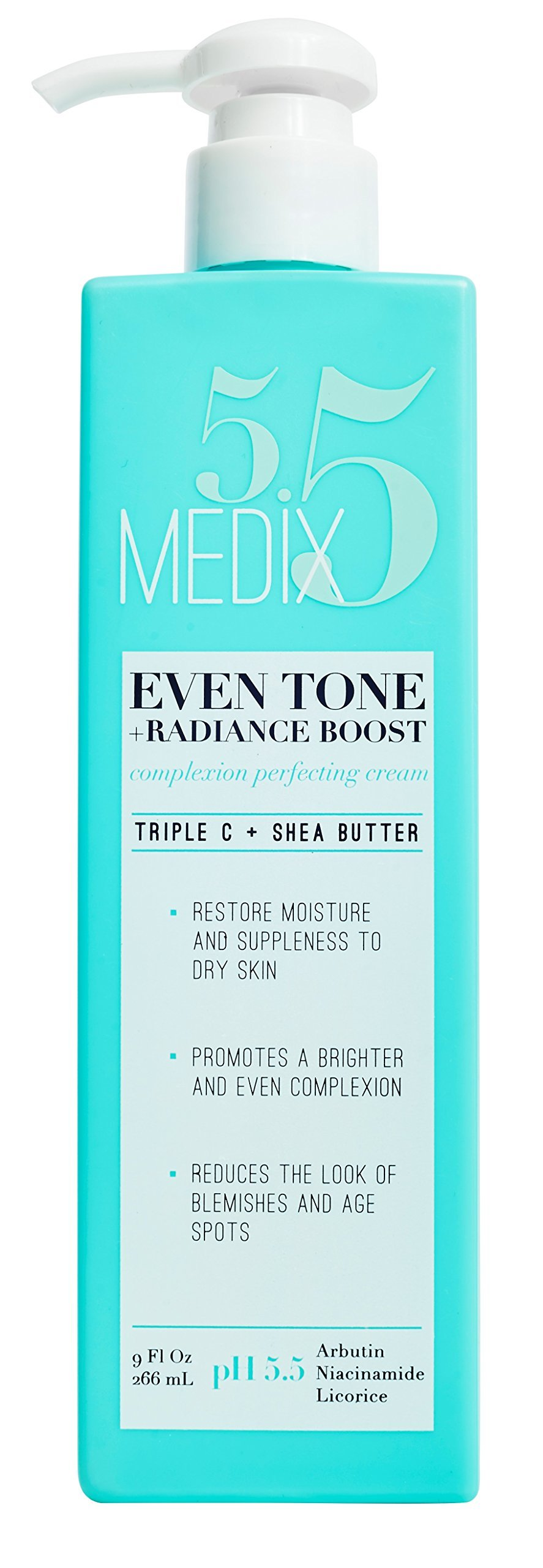 Medix 5.5 Even Tone Cream for body and face. Radiance Boost Complexion Perfecting Cream with Niacinamide, Arbutin, and Licorice. Large 9oz bottle with a pump.