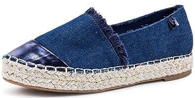 AgeeMi Shoes Damen Slip On Rund Zehe Espadrilles Flache Loafers Sneaker Schuhe,EuD12 Hellblau 40