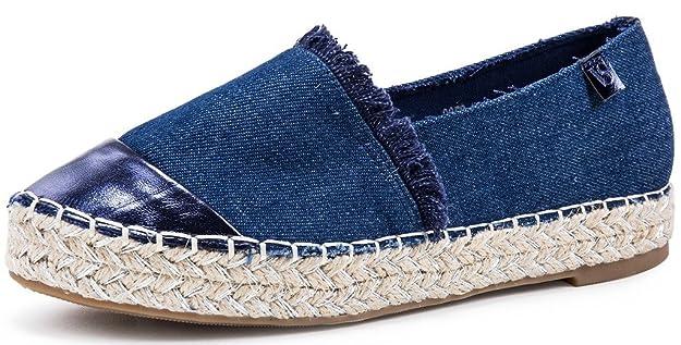 AgeeMi Shoes Damen Slip On Rund Zehe Espadrilles Flache Loafers Sneaker Schuhe,EuD12 Dunkelblau 41