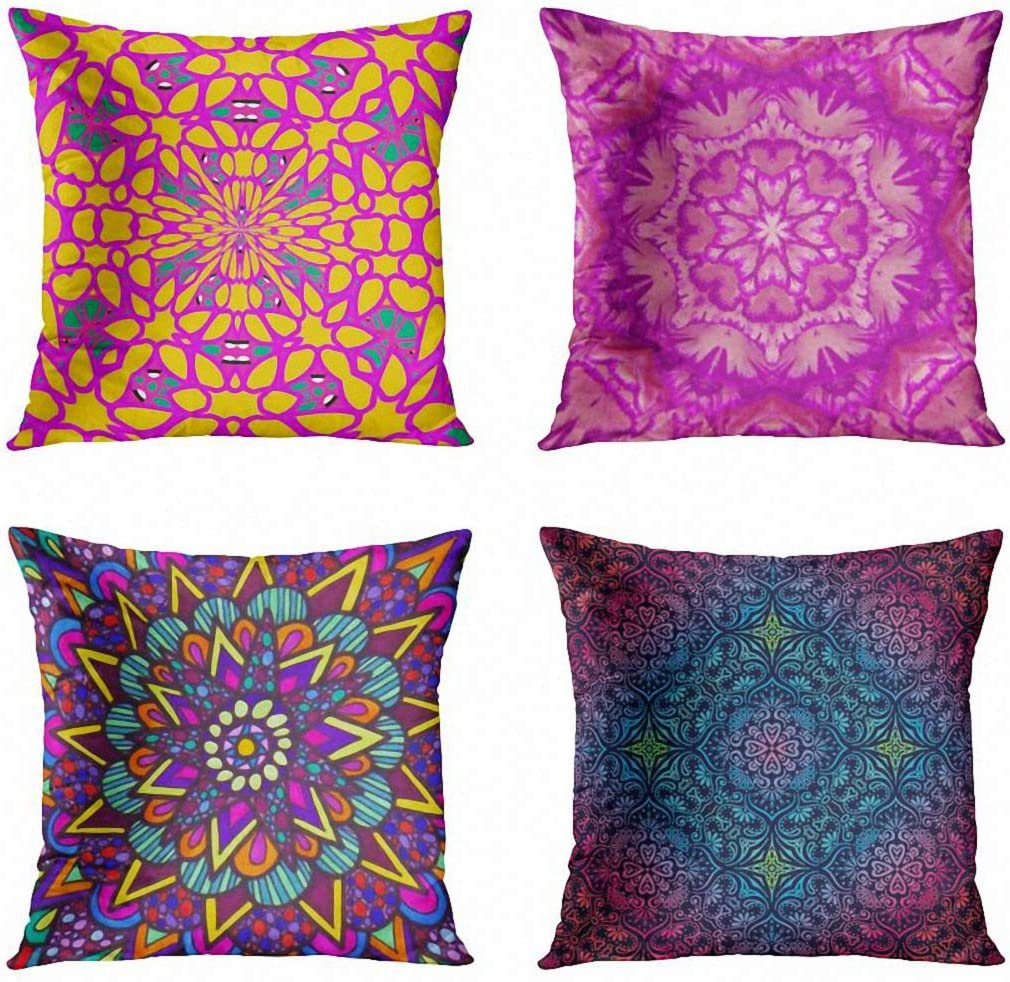 ArtSocket Set of 4 Throw Pillow Covers Magenta Yellow Green Home Household Garden Livingroom Purple Abstract Pink Decorative Pillow Cases Home Decor Square 18x18 Inches Pillowcases