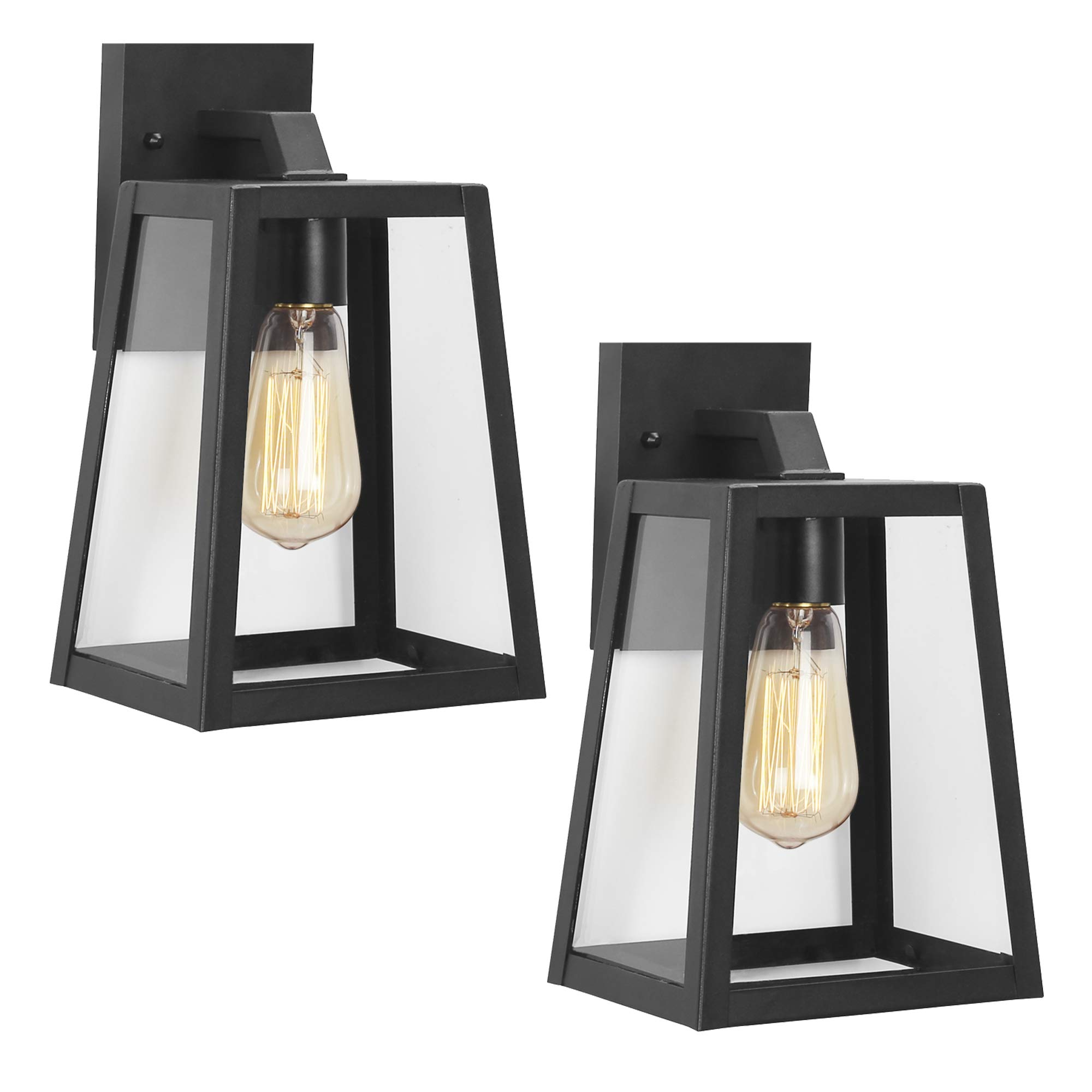 Emliviar Outdoor Wall Lighting Fixture 2 Pack, Wall Light Fixture in Black Finish with Clear Bevel Glass, 12'' Height, OS-1803AW2-2PK