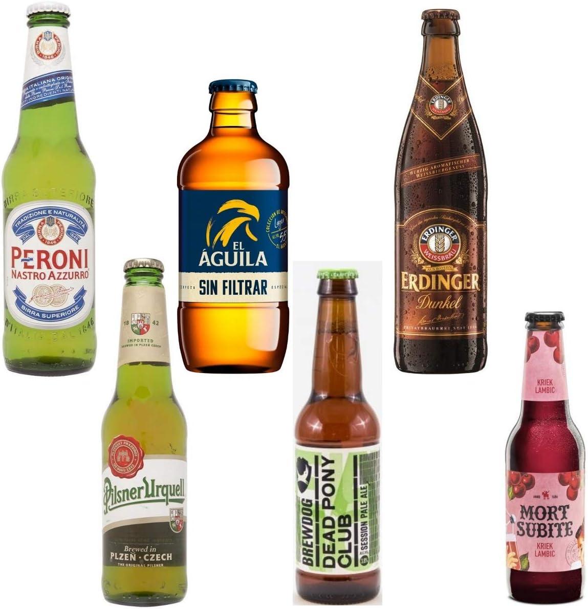 Pack de Cervezas Originales Italiana Peroni 33cl - Pilsner Urquell 33cl - El Aguila Sin Filtrar 33cl - Brewdog Dead Pony Club 33cl - Erdinger Dunkel 50cl - Mort Subite 25cl