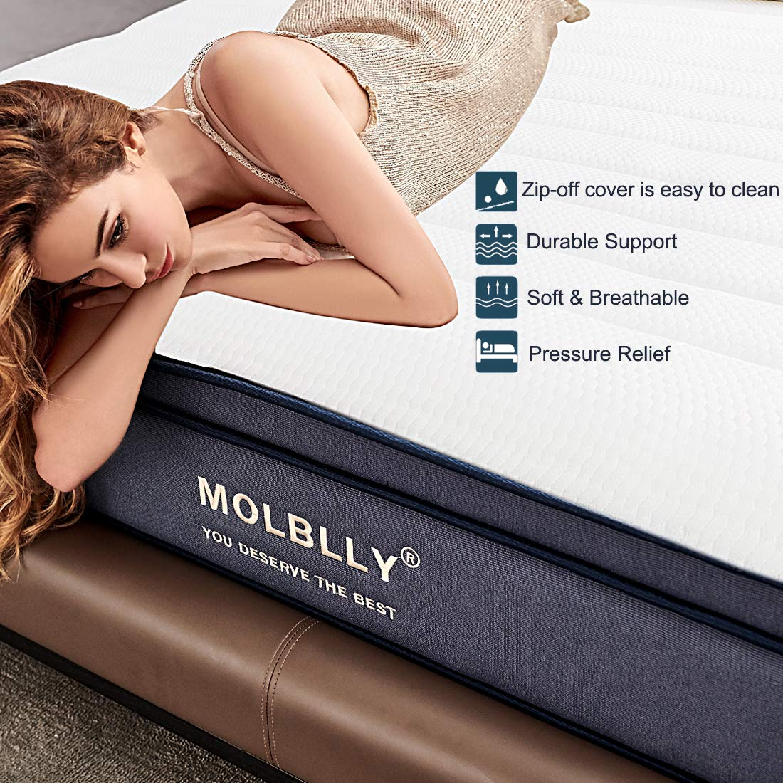 Queen Mattress, Molblly 10 inch Individually Wrapped Coils Innerspring Mattress, Pocket Spring Hybrid Mattresses with CertiPUR-US Certified Foam, Medium Plush and Supportive