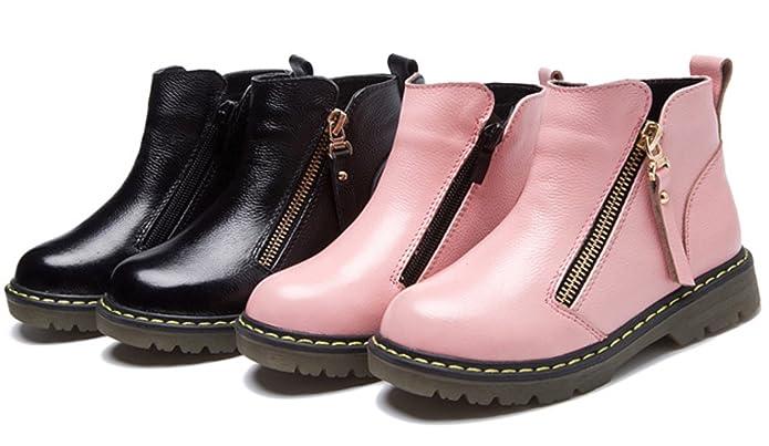 DADAWEN Boy's Girl's Waterproof Leather Side Zipper Ankle Boot Black 3 UK  Size: Amazon.co.uk: Shoes & Bags