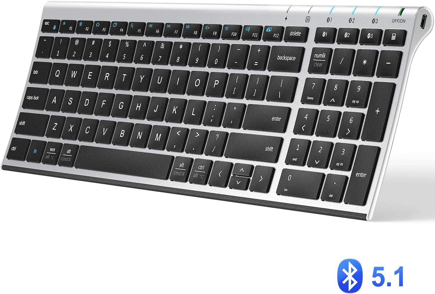 iClever BK10 Bluetooth Keyboard, Multi Device Keyboard Rechargeable Bluetooth 5.1 with Number Pad Ergonomic Design Full Size Stable Connection Keyboard for iPad, iPhone, Mac, iOS, Android, Windows