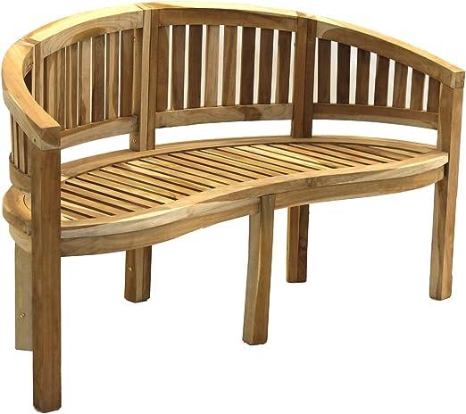 CHICREAT - Banco banana de tres asientos de madera de teca, banco de jardín de madera de teca, aproximadamente 150 cm de ancho: Amazon.es: Jardín