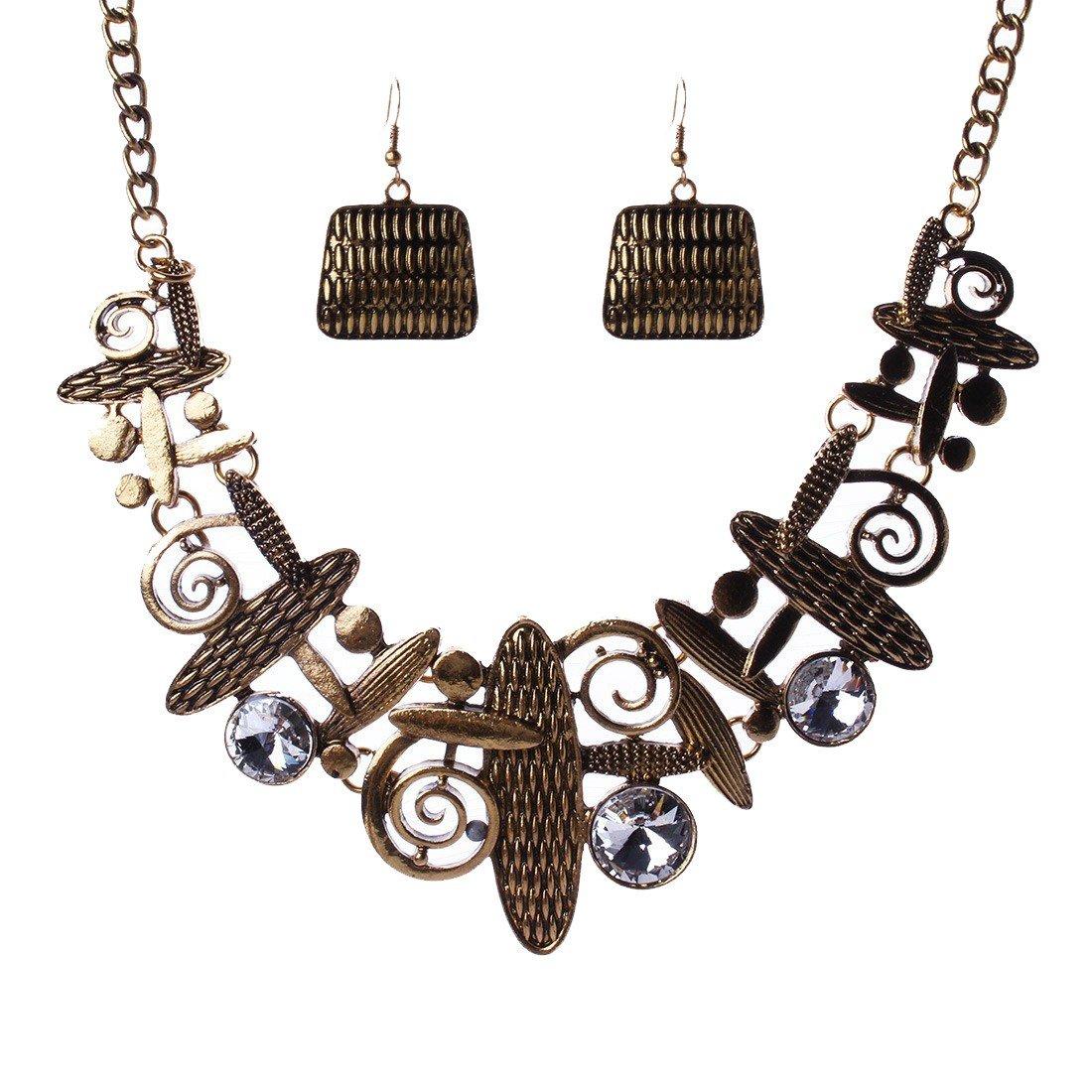 Qiyun Unique Art Tribal Abstract Pattern Bib Choker Necklace Earrings Set Art Abstrait Mode le Collier W005N1873