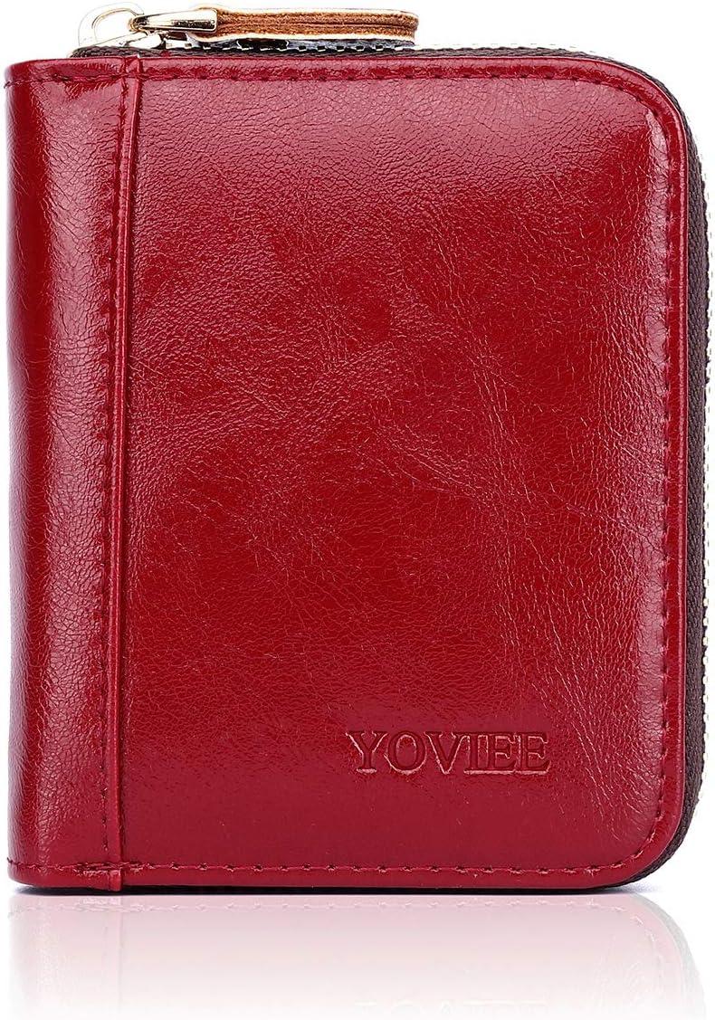 YOVIEE Porte Cartes de Cr/édit Cuir PU RFID pour Les Femmes Porte-Cartes en Cuir pour Carte de Transport Porte-Cartes de Mode pour Dames 12compartiments pour Les Cartes