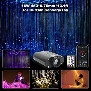 CHINLY Bluetooth 16W RGBW Fiber Optic Curtain Light Kit, APP/Remote Flash Point Waterfall Lighting Kids Sensory Light Home Decor 450pcs0.03in13.1ft