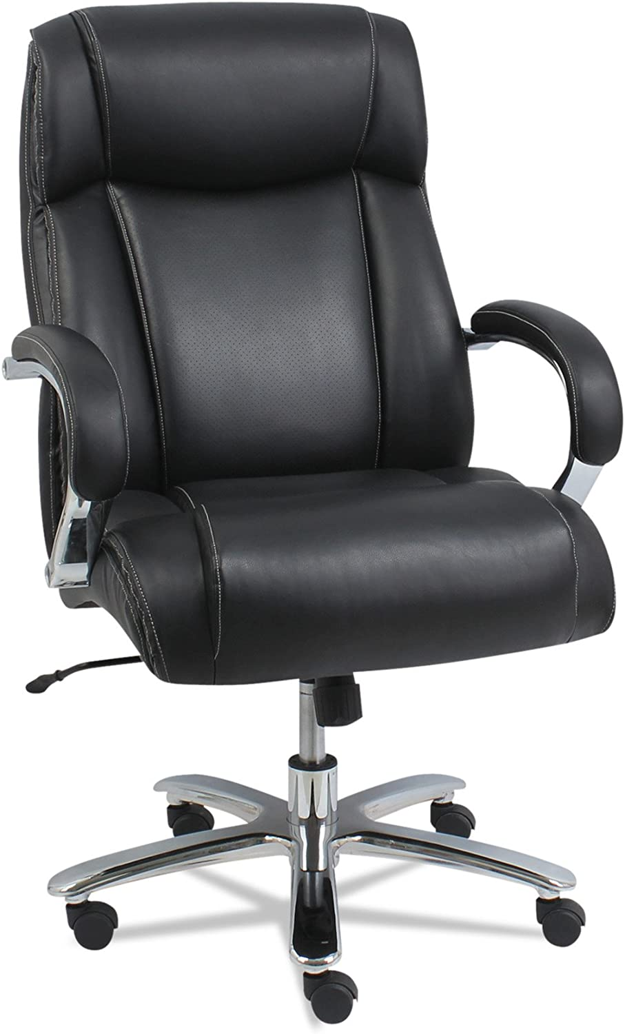 Alera ALE Maxxis Series Big and Tall Leather Chair, Black Chrome