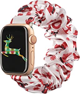 TOYOUTHS Christmas Band Compatible with Apple Watch Band Scrunchies 38mm Cloth Soft Pattern Printed Fabric Bracelet Women IWatch Cute Elastic Scrunchy Bands 40mm Series SE 6 5 4 3 2 1