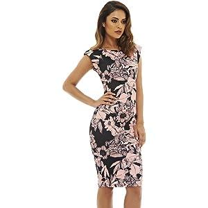 93b2664485b153 Amazon.com: AX Paris Women's Floral Print Midinavy Dress(Navy Red ...