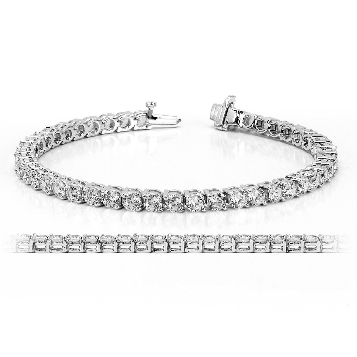 Women 4MM Round Cubic Zirconia Tennis Bracelet In Rhodium & Gold Plated, 7.5 Inches NYC Sterling TEN-4MM-BR