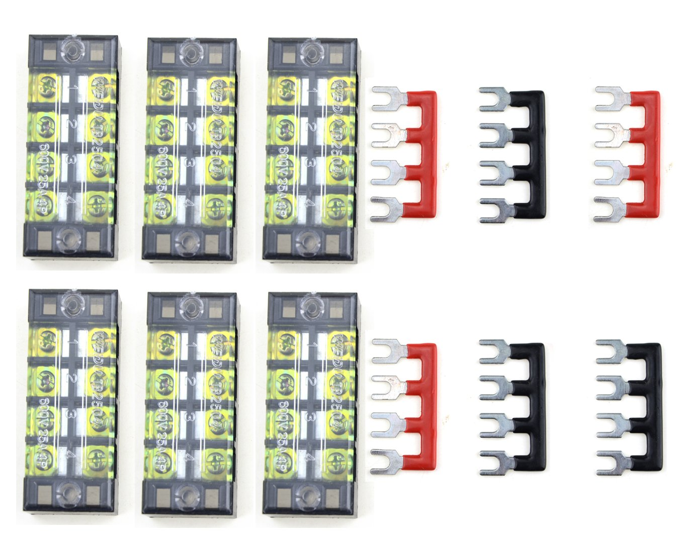 XLX 12pcs (6 Set) 600V 25A 4 Positions Double Row Screw Terminal Strip and 400V 25A 4 Positions Red/Black Pre-Insulated Terminal Barrier Strip