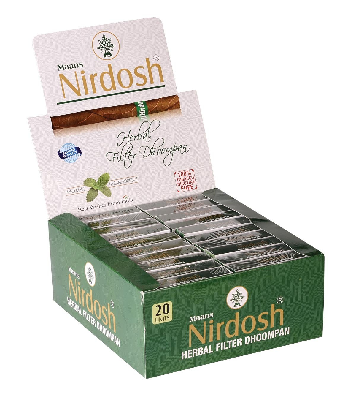 NIRDOSH Herbal No Nicotine & Tobacco Cigarettes[With Filter] - 20 Packs(20 Cigarettes Per Pack) by Nirdosh