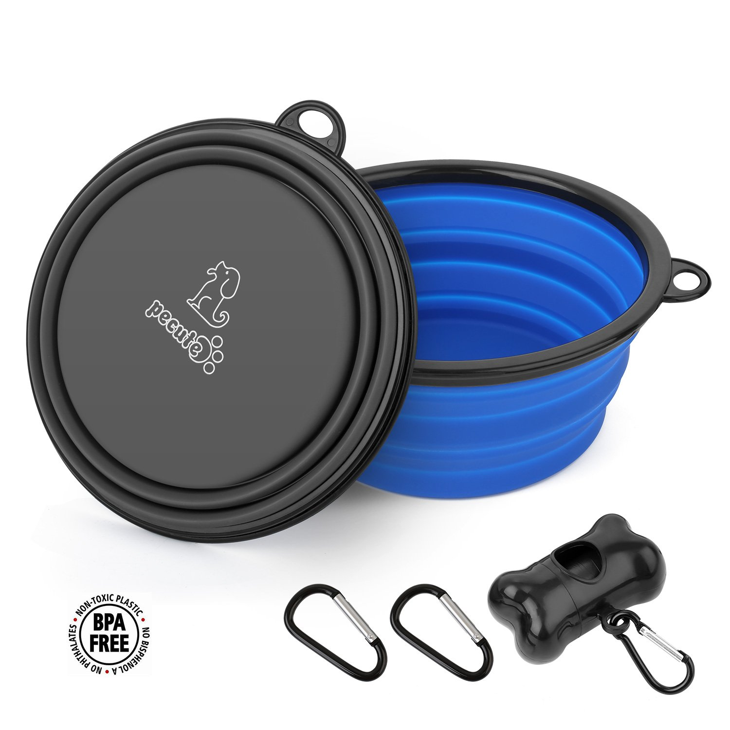 Collapsible Dog Bowl 2 Pack for Large & Small Pet Feed Food Water Feeding Silicone Foldable Expandable Portable Travel Camping Bowl with 2 Carabiner Blue and Gray