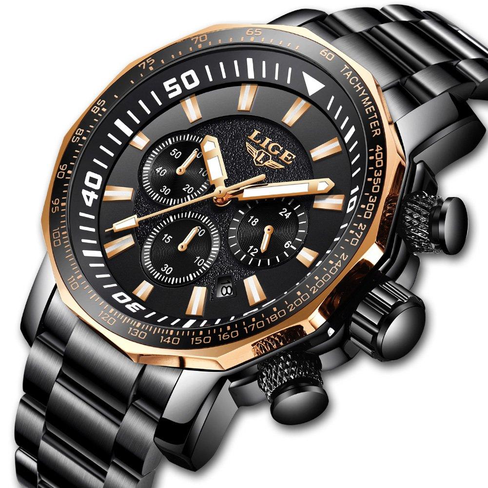 Watch Men Stainless Steel Chronograph Sport Quartz Mens Watches Top Brand Luxury LIGE Waterproof Military Wristwatch Man Gold Black Clock by LIGE