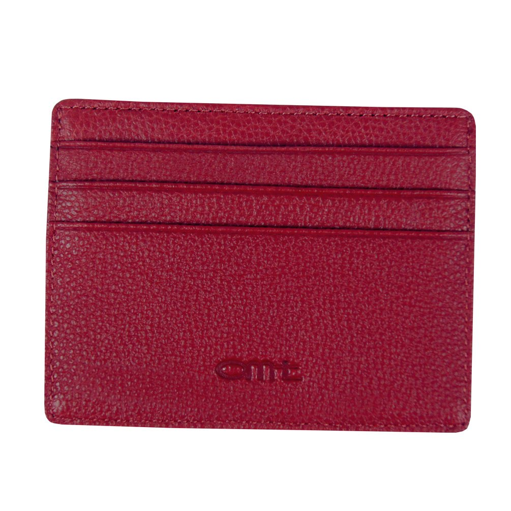 OMT Genuine Leather Card Case Wallet Card Slots and Id Case Front Pocket Credit Card Holder (red) OMT-001