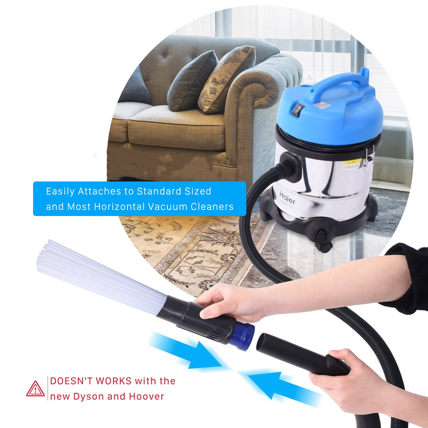 NTMY Dust Brush Cleaner, Dust Dirt Remover Universal Vacuum Attachment Cleaning Tools with 1.25\'\'/1.37\'\' (32/35mm) Inner Diameter Interface Hose, Strong Suction