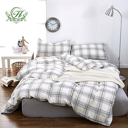 Beau ON SALE Grey Plaid Luxury Queen Duvet Cover Set Double Yarn Cotton Men Boys  Bedding Set