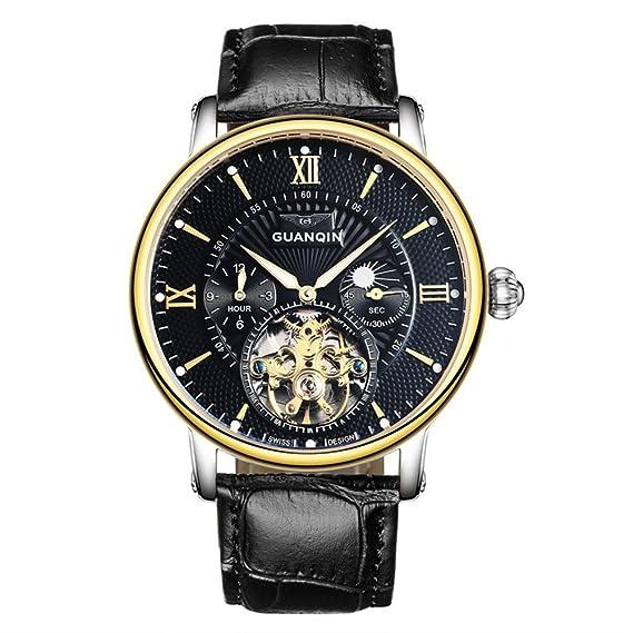 guanqin Analog Reloj hombre PunchKickBlock. mecánica Acero Inoxidable y piel Reloj de pulsera Luna Fase Color Oro Negro: Amazon.es: Relojes