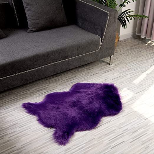 2x3 Feet Purple LOCHAS Soft Faux Sheepskin Chair Cover Fluffy Rugs for Bedroom Faux Fur Area Rug Photography Carpet Floor Throw