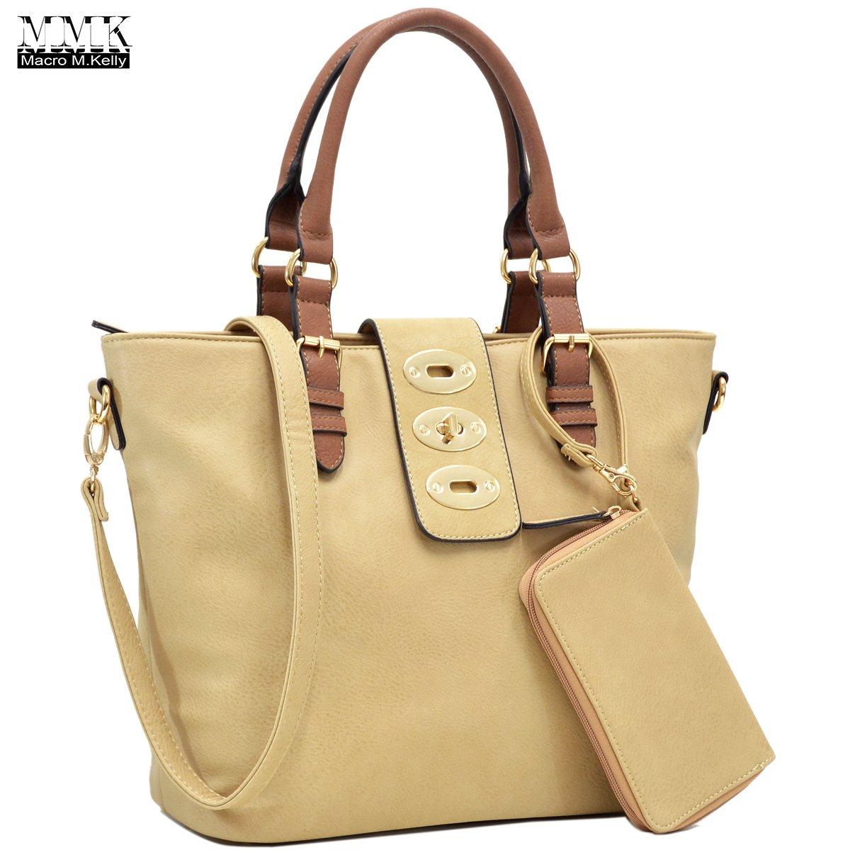 MMK collection Fashion handbag~Classic Tote bag~Holiday gift purse with Wallet~Beautiful Handbag wallet set~Crossbody handbag (MA-07-6717-BG/CF)