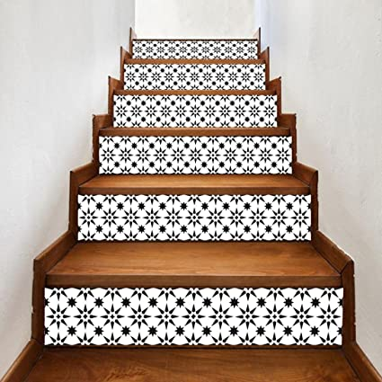 Sunshinehomely Stair Decals, Staircase Stair Riser Floor Sticker DIY Tile  Decals Star Home Decor Staircase