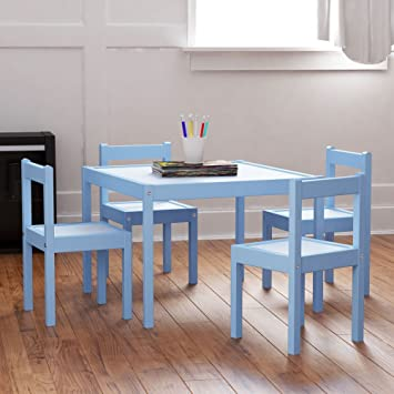 Amazoncom Kids Table and Chairs Set Blue White Wood Childrens