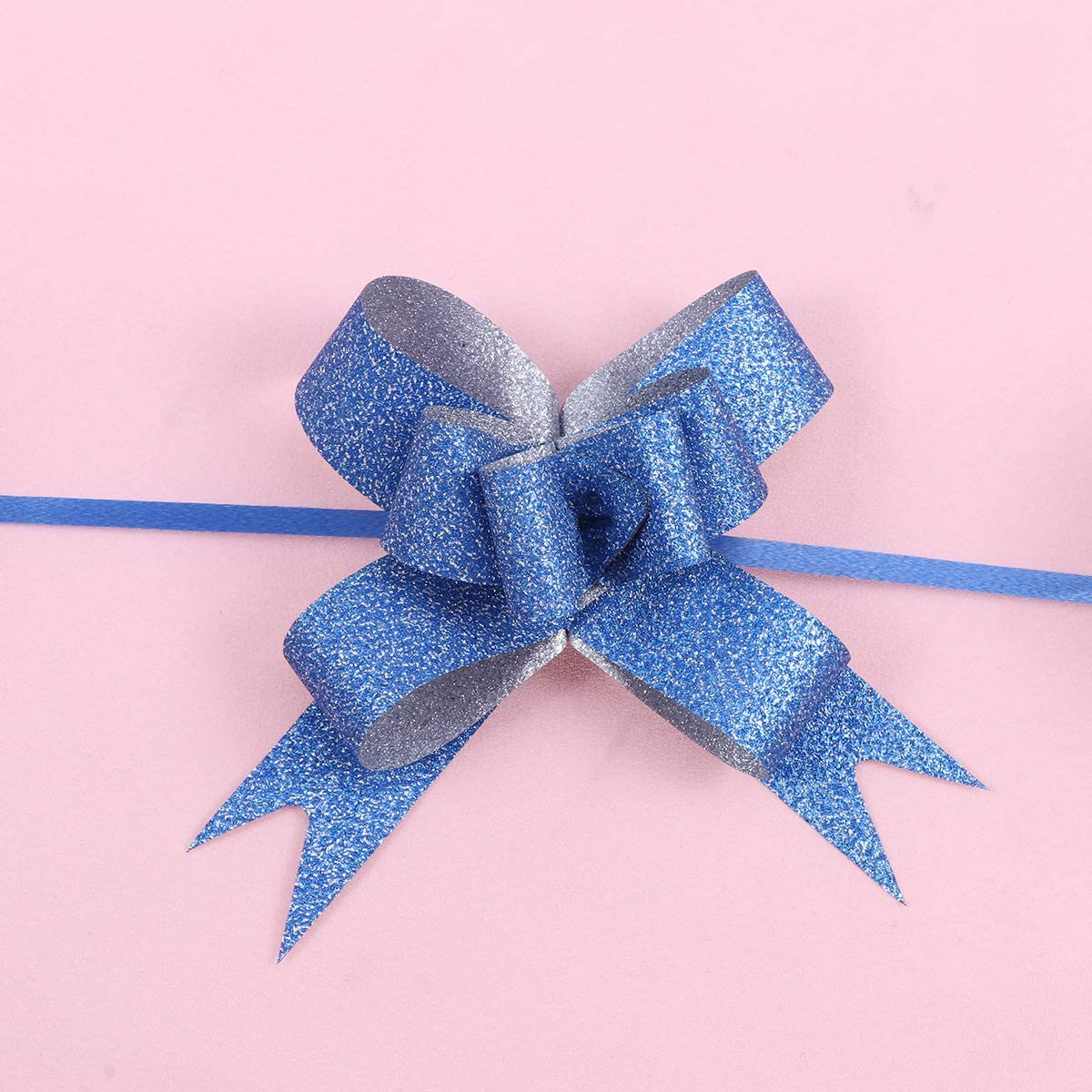 STOBOK Glitter Pull Bows Gift Wrapping Ribbons for DIY Decor 100Pcs Assorted Colors