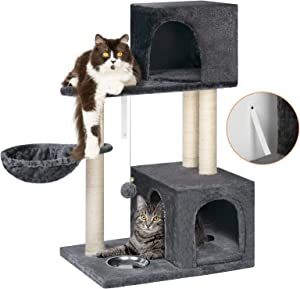 BTY Cat Tree, Small Cat Trees and Towers Multi-Level Cat Scratching Post Tree Stand House Cat Activity Center with Feed Bowl, Bells, House Cave for Cats & Kittens