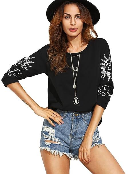 5e100633c0 Amazon.com: Romwe Women's Sun Moon Star Graphic Print Drop Shoulder Long Sleeve  T-Shirt Black XS: Clothing