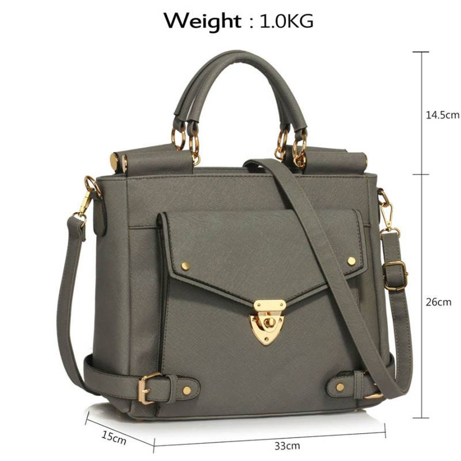 e848cd7241 Xardi London Grey Large Shoulder Bags For Women Designer Handbags Ladies  Faux Leather Tote Girl College Cross Body Satchel Bags with Long Strap  ...