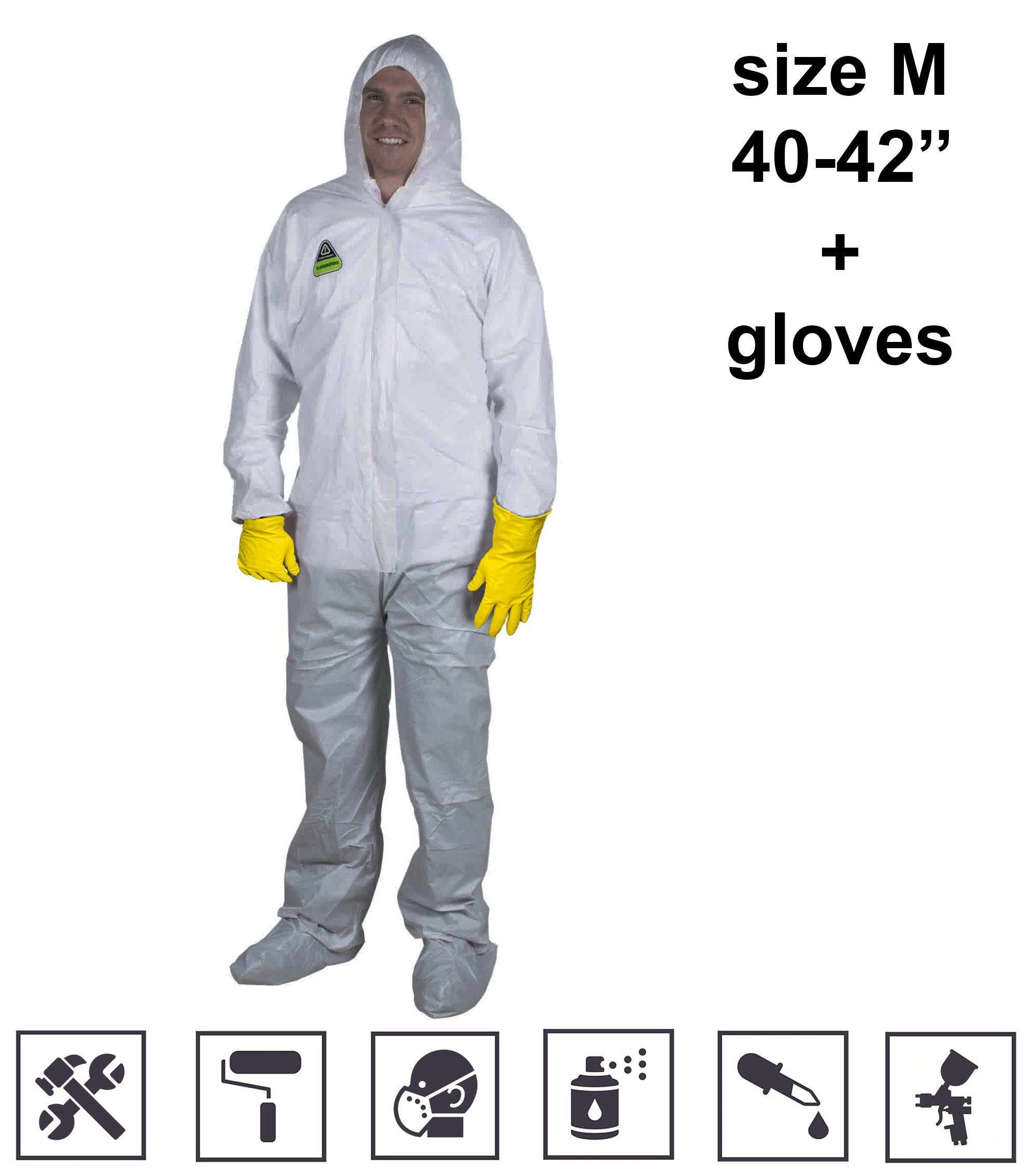 Coveralls for Men Women Disposable Overall Unionalls White Microporous Anti-Static Anti Spray Painting Paint use Dust Mold Mildew Protection with Front Zipper Hood Unisex Size M if Your Wear 40-42