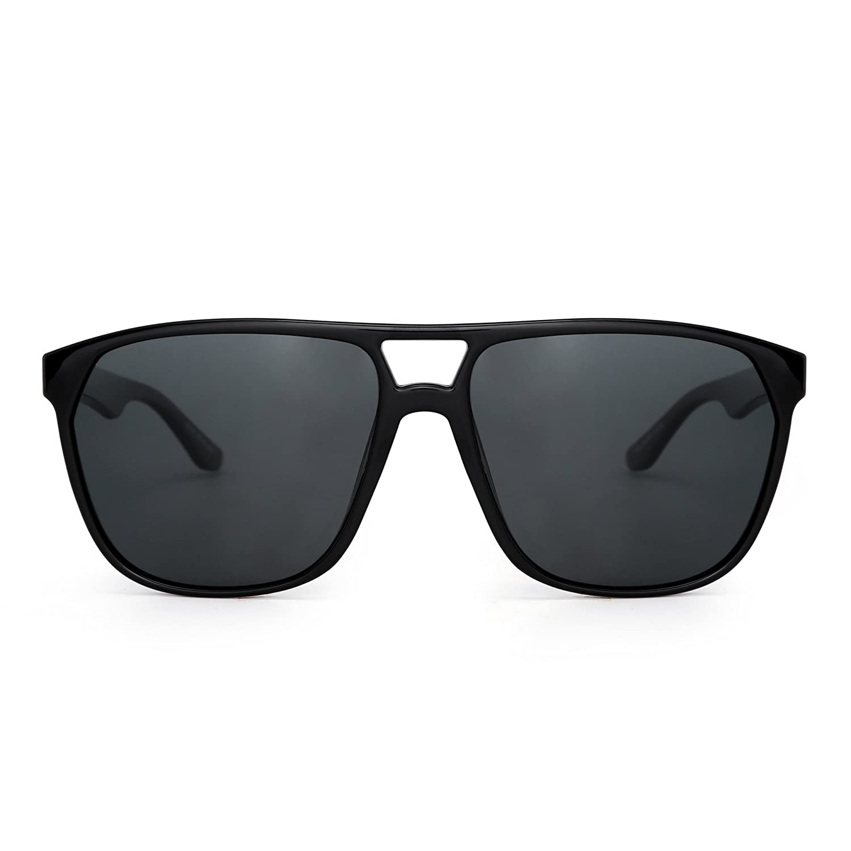 JIM HALO Gafas de Sol Aviador Polarizadas Plano Superior Ligero Peso de Espejo Anteojos Hombre Mujer(Negro Brillante/Gris Polarizado)