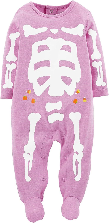 Carters Baby Girls Halloween Snap Romper Baby Purple Skeleton