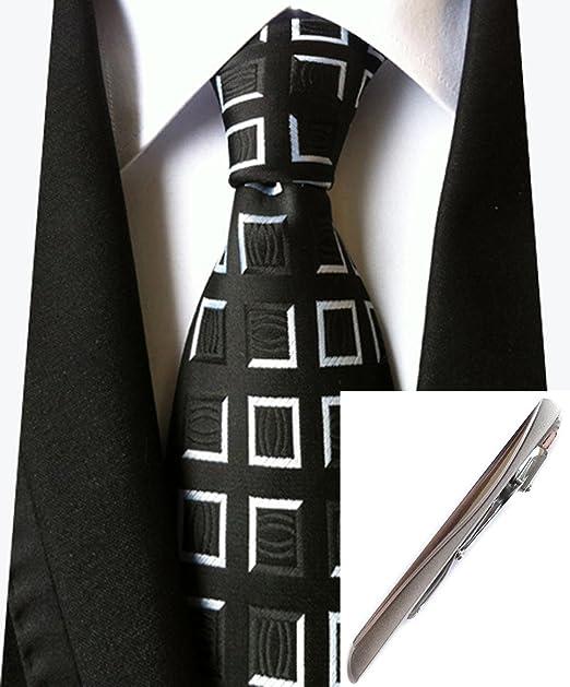 Amazon.com: Para hombre color negro blanco a cuadros corbata ...