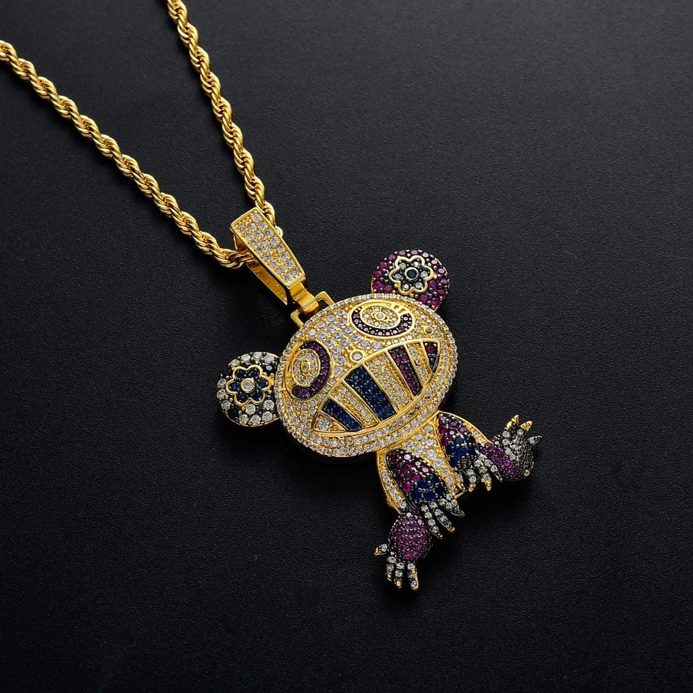 Moca Jewelry Iced Out Ice Cream Pendant Necklace 18K Gold Plated Bling CZ Simulated Diamond Hip Hop Rapper Chain Necklace for Men Women