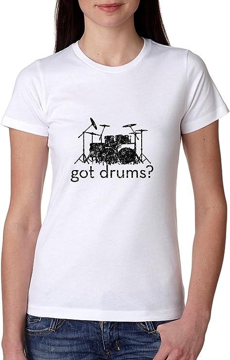 Hollywood Thread Classic Got Drums? Camiseta de algodón para mujer - Blanco - Small: Amazon.es: Ropa y accesorios