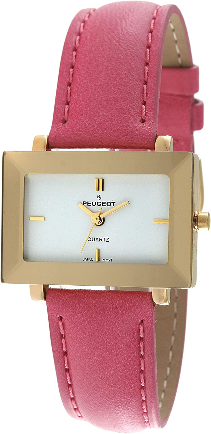 Peugeot Womens Pink Genuine Leather Strap Watch with a East West Goldtone Case with Faceted Crystal