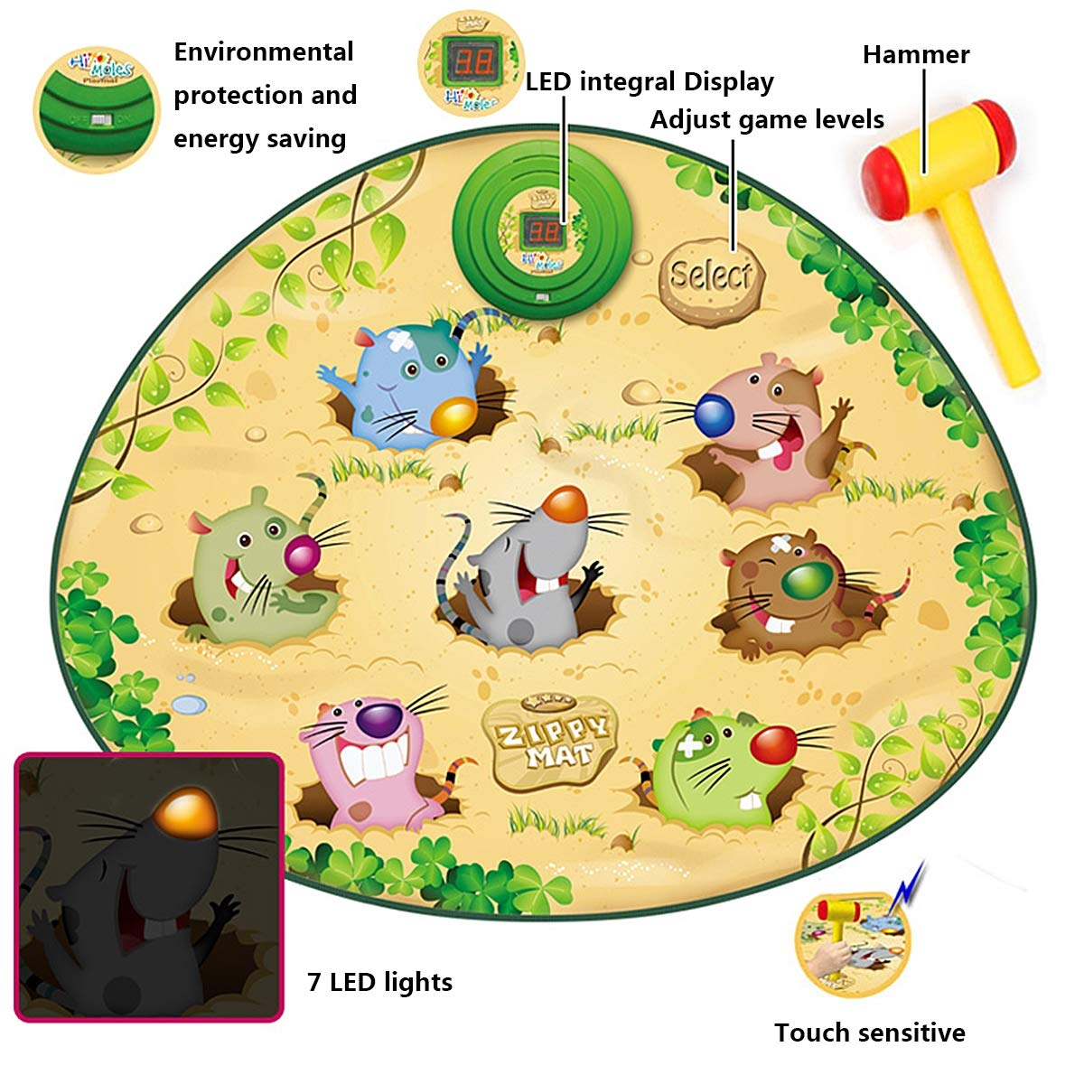 Playing Hamster Game Blanket, Kids Electronic Music Play Mat Security Electronic Keyboard Play Blanket Ideal Toys and Gifts for Children by Eustoma (Image #5)