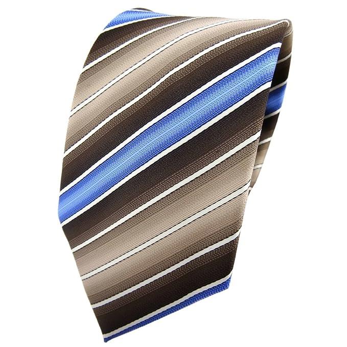 TigerTie - Corbata - marrón marrón amarillento azul crema rayas ...